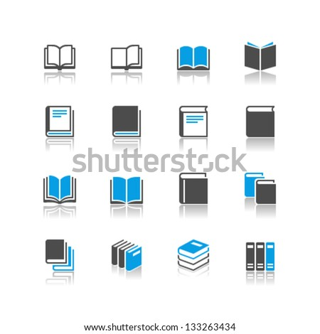 Book icons reflection theme - stock vector