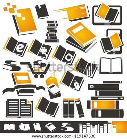 Book icons set. Collection of book symbols, signs and logo designs. - stock vector