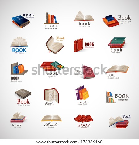 Book Icons Set - Isolated On Gray Background - Vector Illustration, Graphic Design Editable For Your Design.  - stock vector