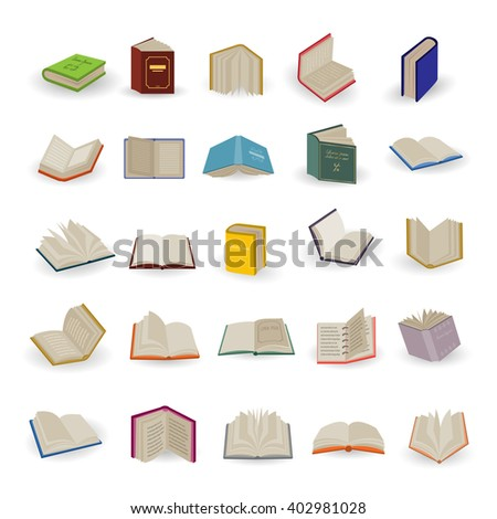 Book Icons Set-Isolated On White Background.Vector Illustration,Graphic Design.Collection Of Different 3d Books.For Web,Website,App. - stock vector