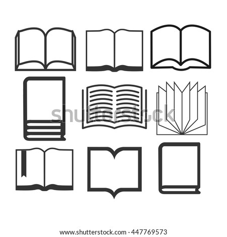 Book icons. Set of books isolated on white background. Vector illustration.