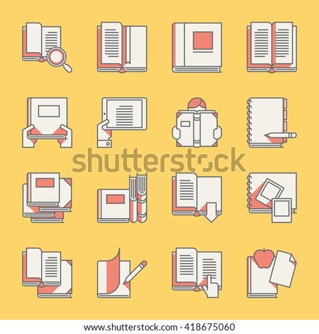 book icons set, vector illustrations - stock vector