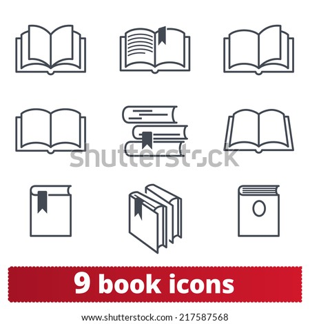 Book icons: vector set - stock vector