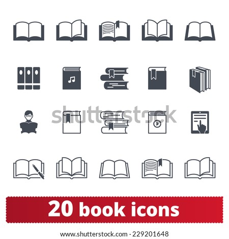 Book icons: vector set e-book, library, literature symbols - stock vector
