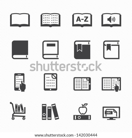 Book Icons with White Background - stock vector
