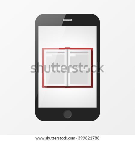 Book in smartphone - stock vector
