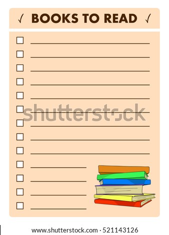 book list reading log books to read wish list blank template with