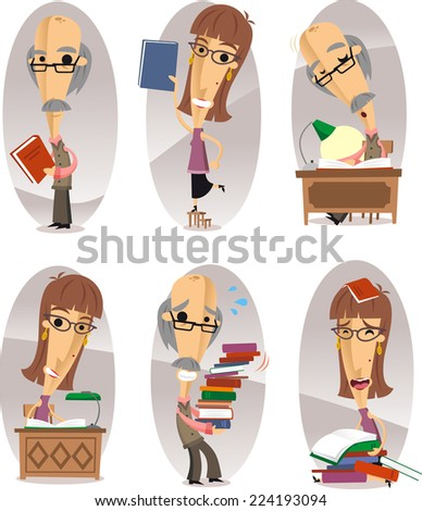 Book man cartoon characters set - stock vector