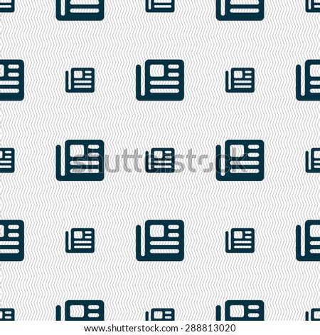 book, newspaper icon sign. Seamless pattern with geometric texture. Vector illustration - stock vector