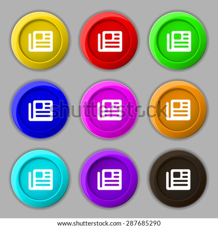 book, newspaper icon sign. symbol on nine round colourful buttons. Vector illustration - stock vector
