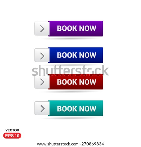 Book Now New Order Button. Abstract beautiful text button with icon. Purple Button, Blue Button, Red Button, Green Button, Turquoise button. web design element. Call to action gray icon button - stock vector