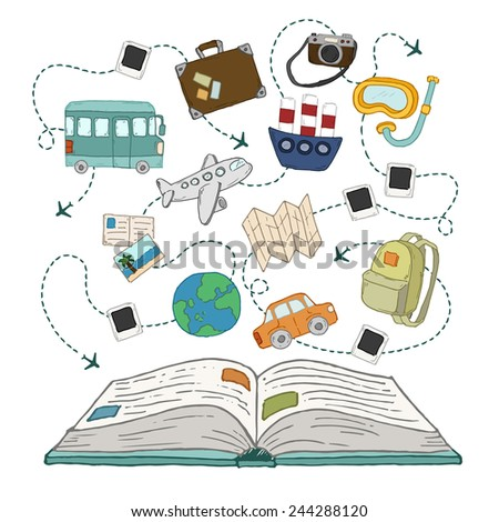 Book of travel - stock vector
