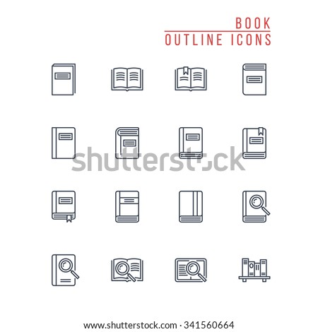 Book Outline Icons - stock vector