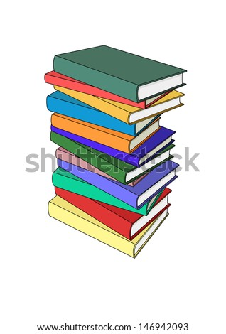 Book pile in color