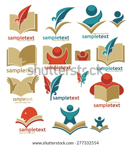 book, reading, education, signs, symbols and logo - stock vector