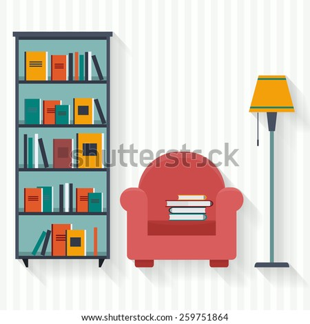 Book shelf and chair with lamp. Flat style vector illustration. - stock vector