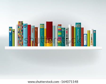 Book shelf. Interior concept.Vector background illustration. - stock ...