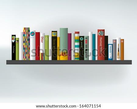 Book shelf. Interior concept.Vector background illustration.  - stock vector
