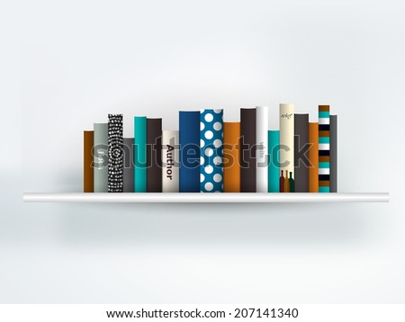 Book shelf interior. Modern furniture design isolated on white. Vector illustration. Art background.  - stock vector