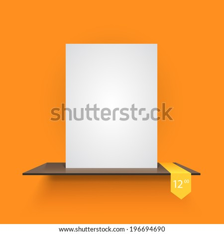 Book shelf on light orange background. Vector illustration - stock vector
