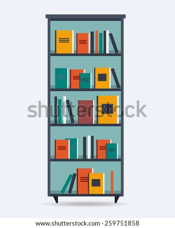 Book shelf with different books. Flat style vector illustration. - stock vector