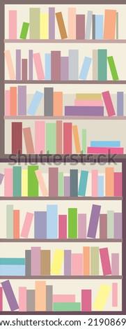 Book shelves seamless banner - vertical design - stock vector