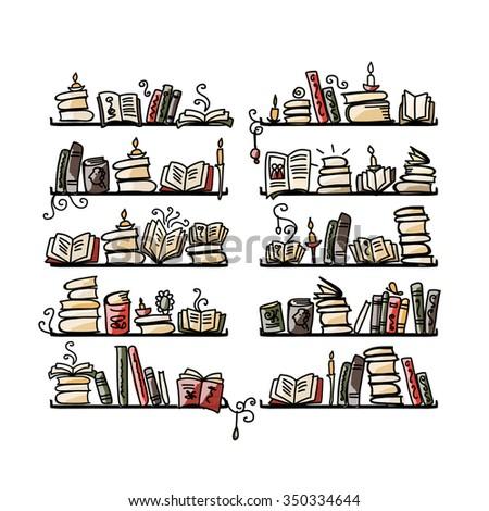 Book shelves, sketch for your design. Vector illustration - stock vector