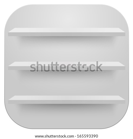 Book shelves white vector background - stock vector