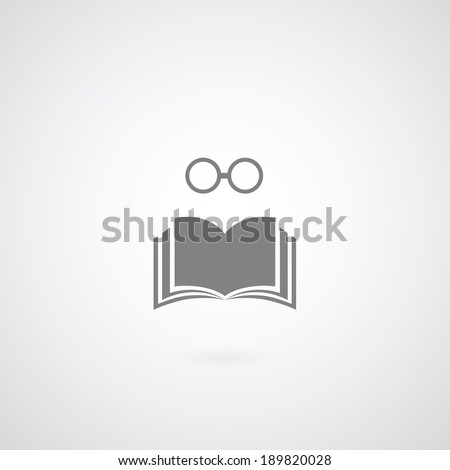book symbol on gray background  - stock vector