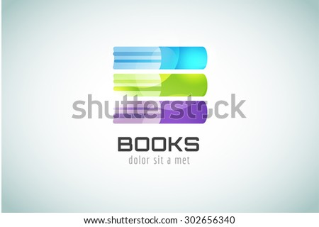 Book template logo icon. Back to school. Education, university, college symbol or knowledge, books stack, publish, page paper. Design element. Isolated on white - stock vector