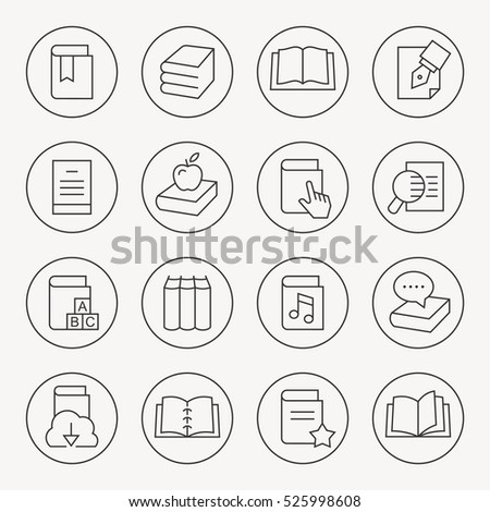 Book thin line icon set