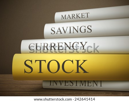 book title of stock isolated on a wooden table over dark background - stock vector