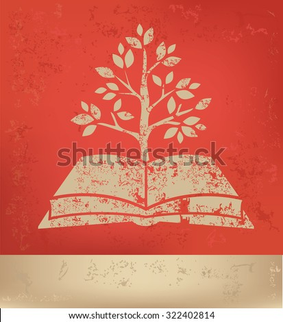 Book,tree car on red background,poster grunge design - stock vector