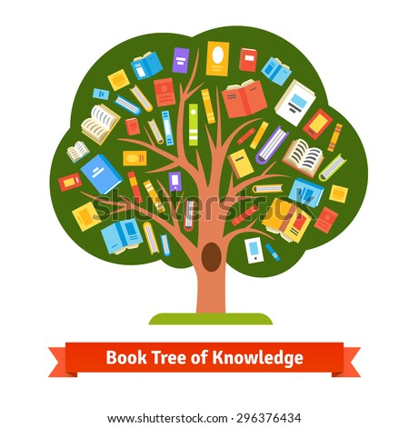 Book tree of knowledge and reading. Flat style vector illustration.