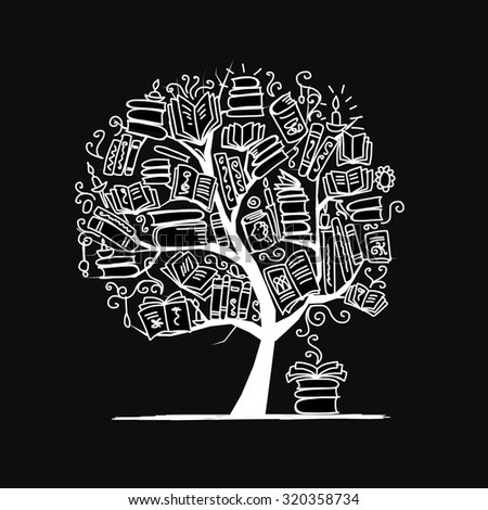 Book tree, sketch for your design. Vector illustration - stock vector