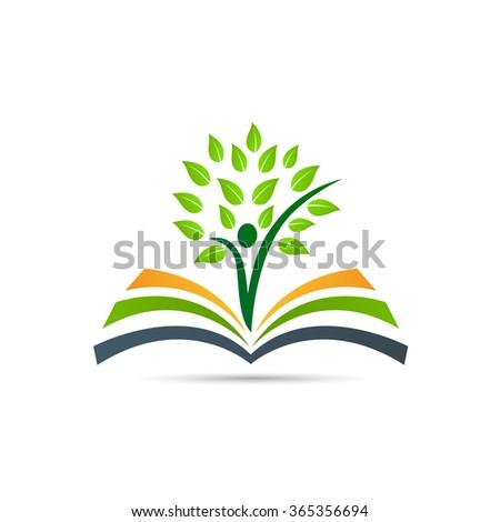 Book tree vector design represents school logo, education emblem concept. - stock vector