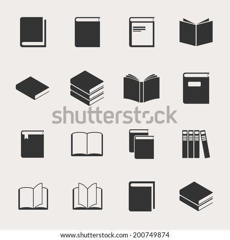 Book Vector Icon Set - stock vector