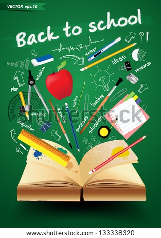 Book with back to school creative concept, Vector illustration Modern template Design - stock vector