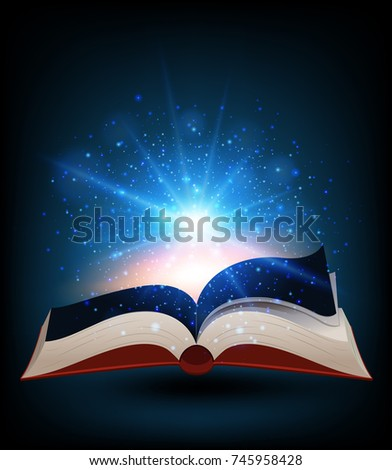 Book with bright light shinning illustration