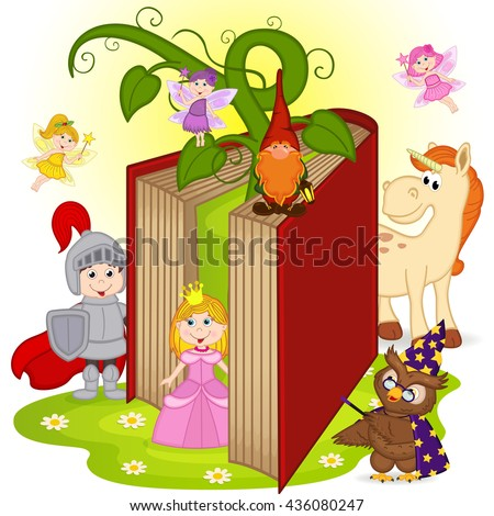 book with characters from fairy tales  - vector illustration, eps