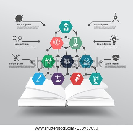 Book with chemistry and science icon education concept, Vector illustration modern design template, workflow layout, diagram, step up options - stock vector