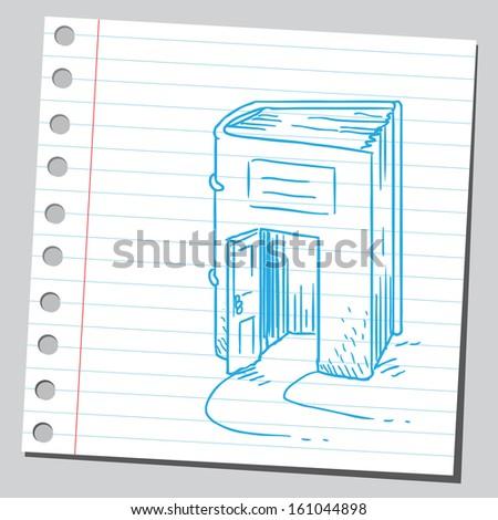 Book with door - stock vector