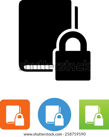 Book with DRM protection. Vector icons for video, mobile apps, Web sites and print projects.  - stock vector