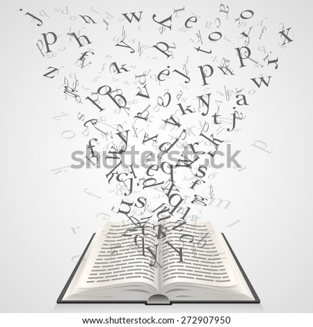 Book with flying letters. Vector Illustration - stock vector
