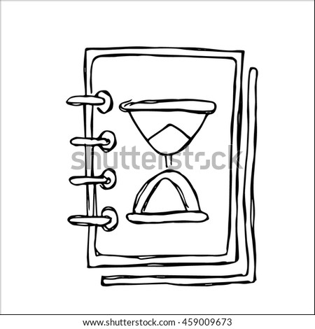 book with hourglass image sketch  vector illustration, for business planning design