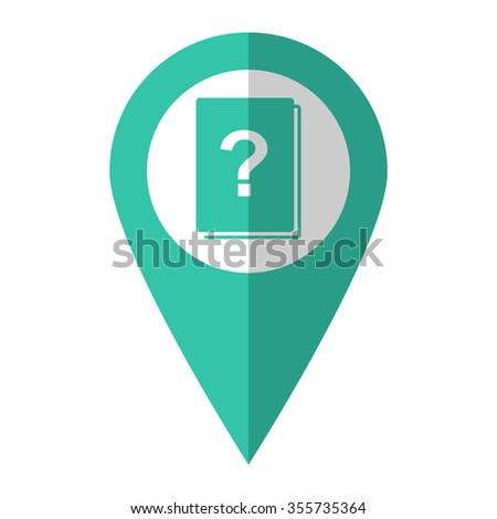 Book with question mark - vector icon;  green map pointer - stock vector