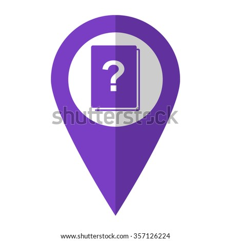 Book with question mark - vector icon;  violet map pointer - stock vector
