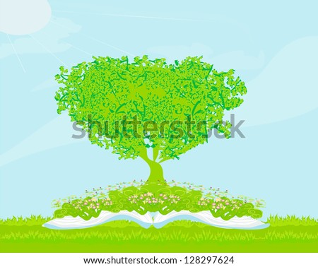 Book with tree on natural background. - stock vector