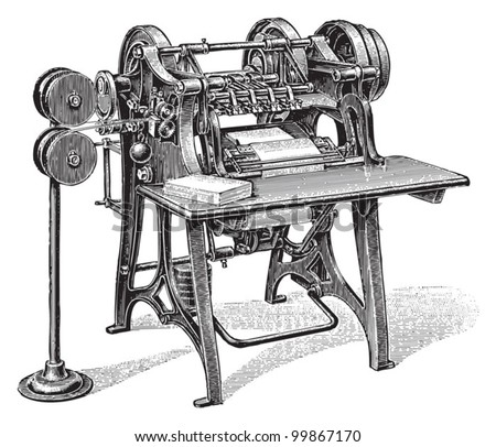 Bookbinding machine / vintage illustration from Meyers Konversations-Lexikon 1897 - stock vector