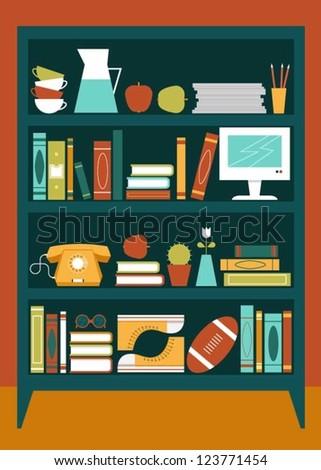 Bookcase - stock vector